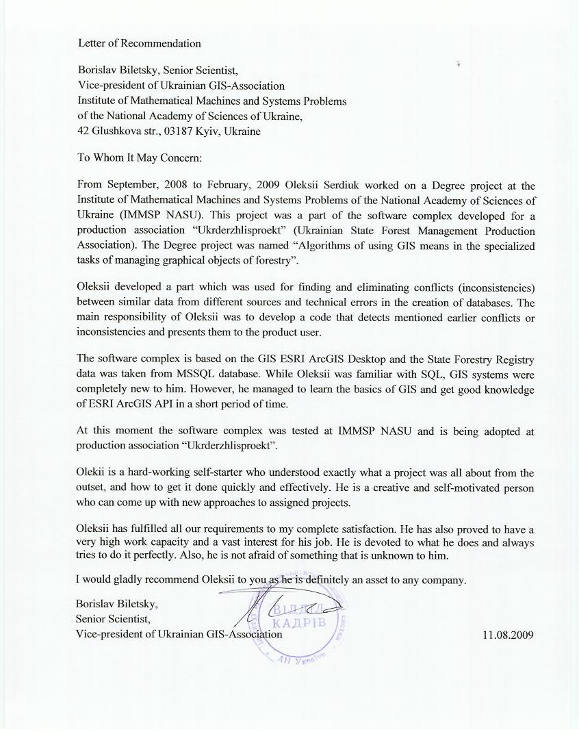 recommendation letter from borislav